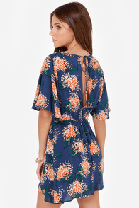 Turn Over a New Leaf Blue Print Dress at Lulus.com!