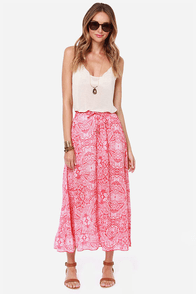 Billabong Fading Too Soon Red Print Skirt at Lulus.com!