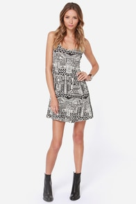 Billabong Shout it Out Ivory and Black Print Dress at Lulus.com!