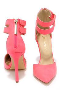 Cute Hot Pink Heels Ankle Strap Heels Pointed Pumps