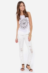 Billabong To the Stars White Tank Top at Lulus.com!