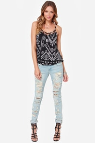 Billabong Radical Skies Ivory and Black Print Top at Lulus.com!