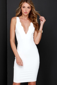 Work of Heart Midi Ivory Bodycon Dress at Lulus.com!