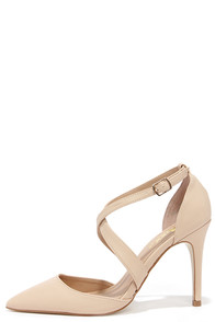Met My Match Nude Pointed Pumps at Lulus.com!