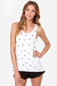 Roxy Mode Ivory Polka Dot Muscle Tee at Lulus.com!