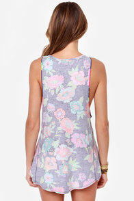 Roxy Sweet Things Purple Floral Print Muscle Tee at Lulus.com!