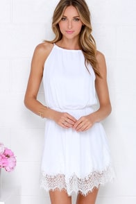 Spice Up Your Life Ivory Lace Dress at Lulus.com!
