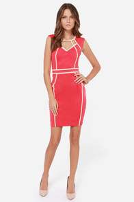 Little Mistress Hold the Line Coral Pink Bodycon Dress at Lulus.com!