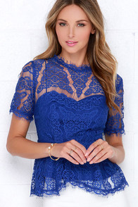 Vine Leaves Royal Blue Lace Top at Lulus.com!