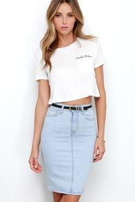 Rocka-billie Jean Light Wash Denim Pencil Skirt at Lulus.com!