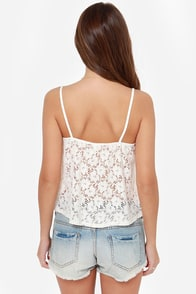 Lucy Love Solid Capri Ivory Lace Tank Top at Lulus.com!