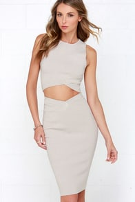 Cenozoic Era Beige Bodycon Two-Piece Dress at Lulus.com!