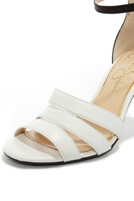Jessica Simpson Maselli Soft White and Black Ankle Strap Heels at Lulus.com!