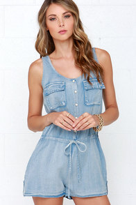 Good Times Roll Light Wash Chambray Romper at Lulus.com!