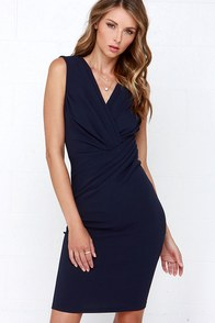 Meet Me Uptown Navy Blue Midi Dress at Lulus.com!