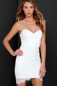 Hey There Gorgeous Ivory Strapless Lace Dress at Lulus.com!