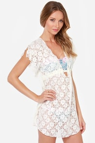 Lucy Love Bliss Cream Lace Cover-Up at Lulus.com!