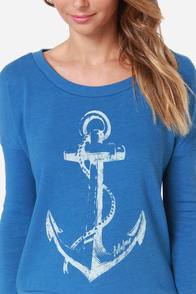 Billabong Sea Me Dreaming Blue Anchor Print Sweater at Lulus.com!