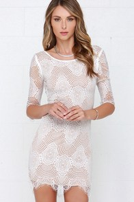 Loved and Adored Ivory Bodycon Lace Dress at Lulus.com!