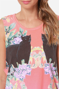 Chaser Mirrored Panthers Print Muscle Tee at Lulus.com!