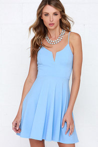 Best Place to V Light Blue Skater Dress at Lulus.com!