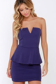 Salt-N-Peplum Indigo Peplum Dress at Lulus.com!