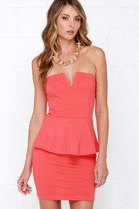 Salt-N-Peplum Coral Peplum Dress at Lulus.com!