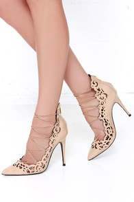 LFL Essence Nude Laser Cut Booties at Lulus.com!