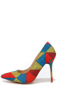 Main Abstraction Rainbow Print Pumps at Lulus.com!