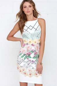 Honeybee Fantasy Ivory Floral Print Dress at Lulus.com!
