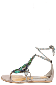 Dolce Vita Aldine Dark Silver Leather Beaded Sandals at Lulus.com!
