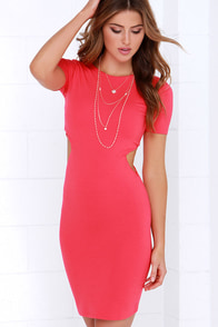 In a Flash Coral Red Bodycon Dress at Lulus.com!
