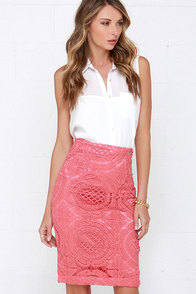 Doily a Dozen Rose Pink Lace Pencil Skirt at Lulus.com!