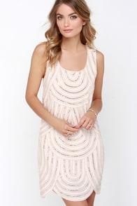 Flirty Flapper Beige Sequin Shift Dress $79.00 AT vintagedancer.com