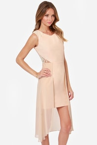 Making Trends Meet Beige High-Low Dress at Lulus.com!