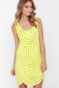 Flirty Flapper Yellow Sequin Shift Dress at Lulus.com!