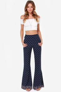 Bell Bottom News Navy Blue Print Pants at Lulus.com!