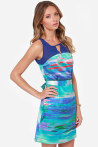Lavand Broad Strokes Blue Print Dress at Lulus.com!