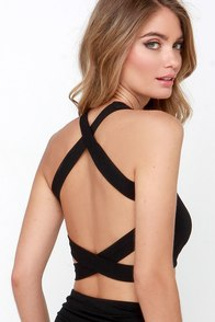 Next Veneration Black Strappy Crop Top at Lulus.com!