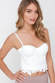 Brisk Pace Ivory Lace Bustier Top at Lulus.com!