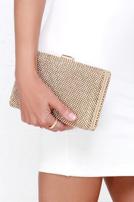 Princess and the Spree Gold Rhinestone Clutch at Lulus.com!