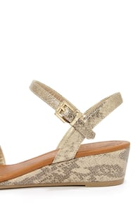 City Classified Pinkie Light Gold Snakeskin Patent Wedge Sandals at Lulus.com!