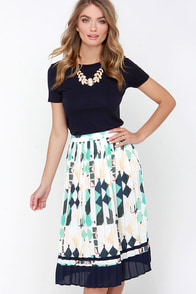 Pleat Treat Ivory and Navy Blue Print Midi Skirt at Lulus.com!