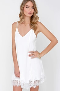 Highly Refined Ivory Lace Shift Dress at Lulus.com!