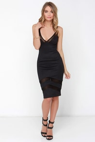 Untamed Dame Black Midi Dress at Lulus.com!