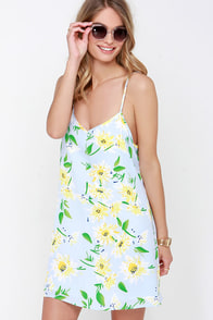Tournesols Light Blue Floral Print Dress at Lulus.com!
