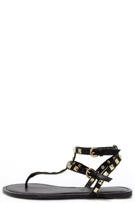 Rock Star Stunner Black Studded Thong Sandals at Lulus.com!
