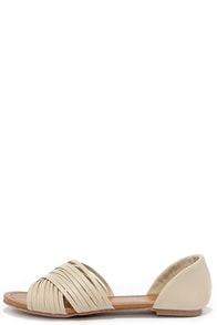 Stroll Along Beige Peep Toe Flats at Lulus.com!