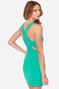 Aryn K Courtyard Cocktails Teal Dress at Lulus.com!
