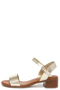 Shimmer Down Champagne Ankle Strap Sandals at Lulus.com!